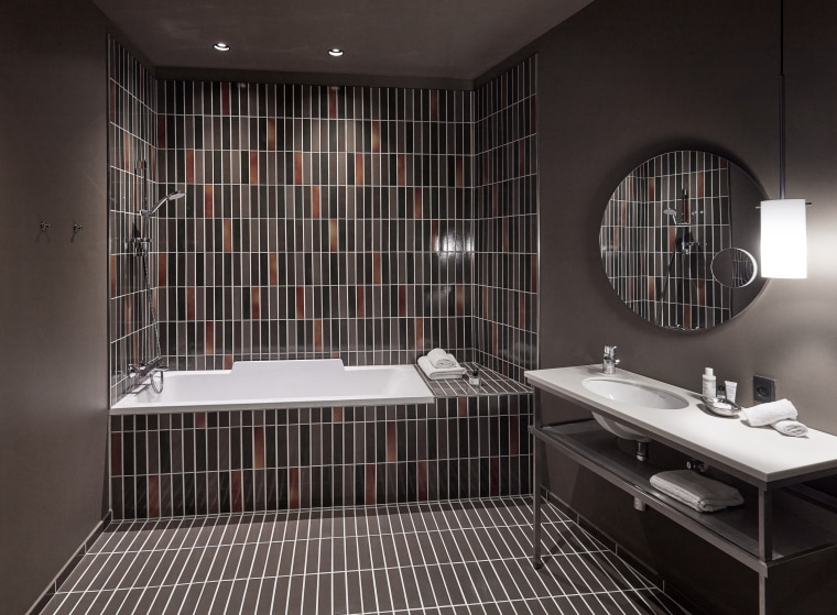 Ceramic tiles from Agrob Buchtal's Craft series adorn architecture, bathroom, black, ceiling, ceramic, floor, flooring, interior design, plumbing fixture, property, room, sink, tap, tile, black