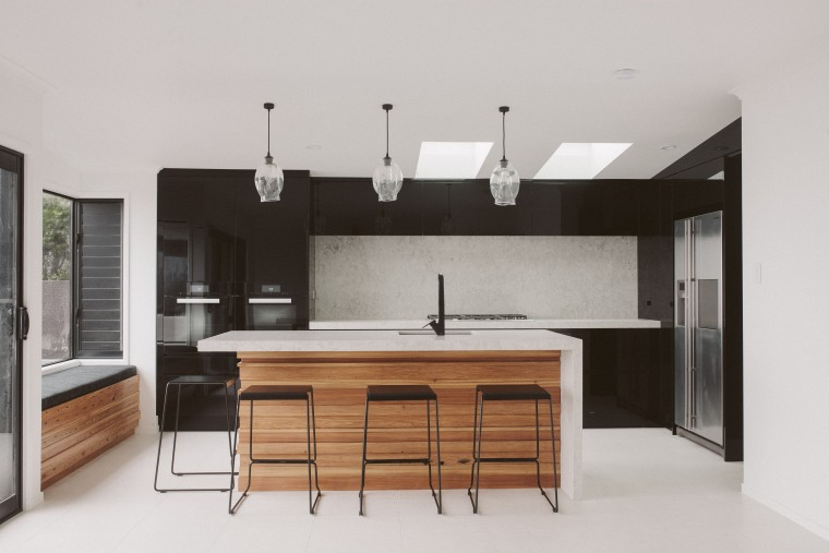 Creating a sense of luxury was paramount – architecture, cabinetry, countertop, cuisine classique, interior design, kitchen, real estate, room, gray