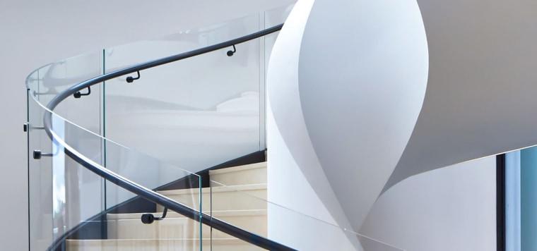 Killara 01 - architecture | design | glass architecture, design, glass, handrail, interior design, lighting, line, material property, metal, stairs, white, gray