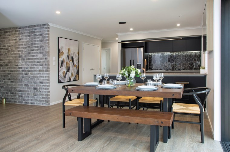 Exterior feature matte brickwork wraps on into the building, cabinetry, ceiling, coffee table, design, dining room, floor, flooring, furniture, hardwood, home, house, interior design, laminate flooring, living room, loft, property, real estate, room, table, tile, wall, wood, wood flooring, gray