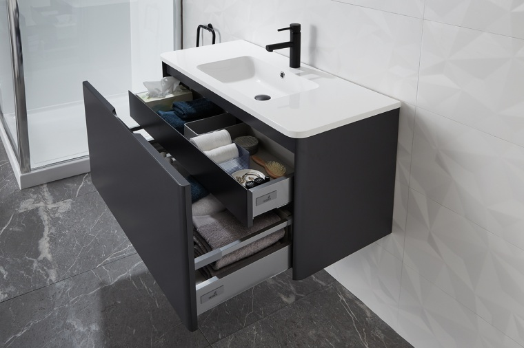 Le Vivi Lucca Wall Hung Vanity - architecture architecture, bathroom, bathroom accessory, bathroom cabinet, bathroom sink, drawer, floor, flooring, furniture, interior design, marble, material property, plumbing fixture, room, sink, table, tap, tile, gray, black