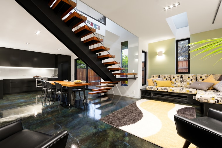 The majority of Kiwis favour a smaller architecture, interior design, living room, real estate, white, black