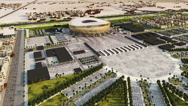 New look at Foster + Partners Lusail Stadium aerial photography, amphitheatre, arena, bird's eye view, city, mixed use, sport venue, stadium, structure, suburb, urban area, urban design, white, brown