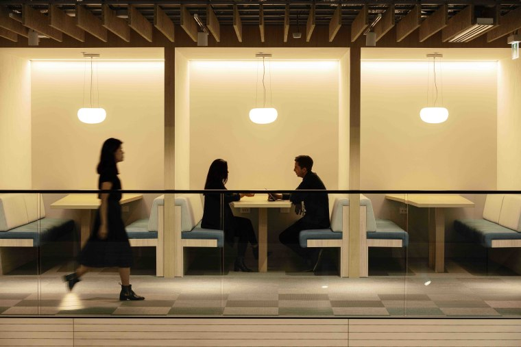 Mercury – by Warren and Mahoney architecture, building, ceiling, infrastructure, interior design, lobby, room, orange, brown