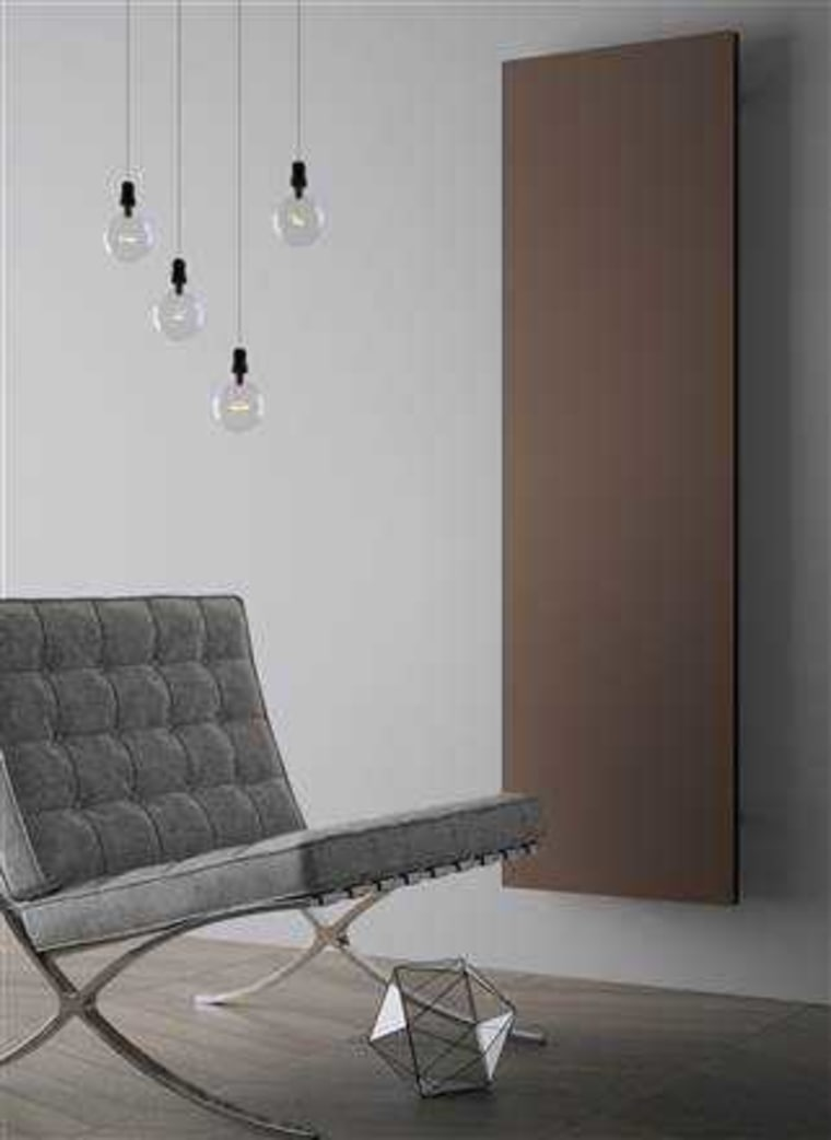This sleek radiator has a minimal look chair, floor, flooring, furniture, interior design, lamp, light fixture, lighting, product, table, wall, gray, black
