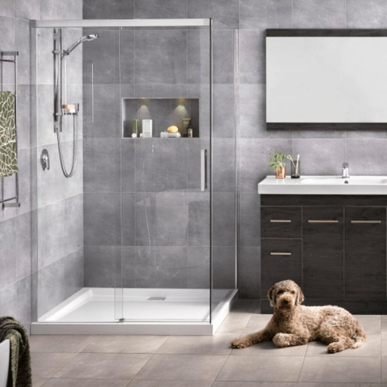 Make sure you choose tiles that are both bathroom, bathroom accessory, door, floor, flooring, interior design, plumbing fixture, room, tap, tile, gray