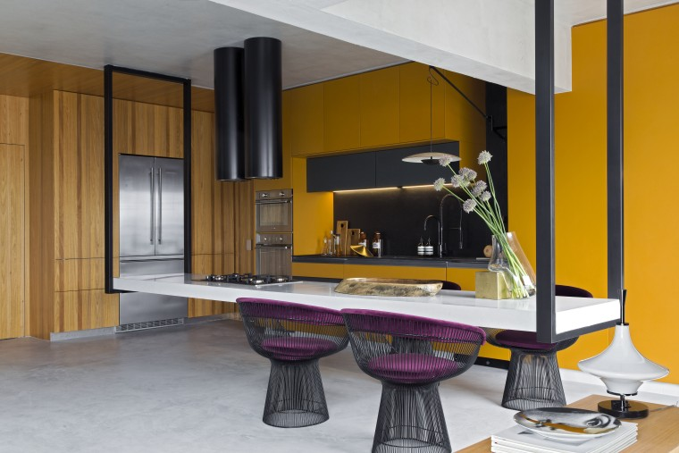 Now light and wide, the kitchen is complemented architecture, building, column, floor, furniture, house, interior design, living room, material property, property, room, table, yellow, gray