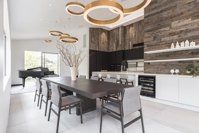 Designed by Marketa Ramage of Studio Italia to countertop, cuisine classique, dining room, floor, interior design, kitchen, table, white