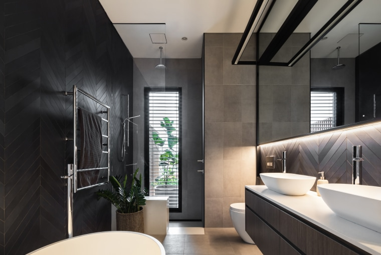 An LED bulb can last up to five architecture, bathroom, bathroom design, black, white, tiles,  vanity, Melonie Bayl-Smith, Andrew Lee, Bijl Architecture