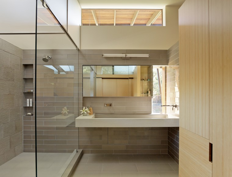 ​​​​​​​Light floods into this second storey master bathroom architecture, bathroom, cabinetry, tiled floor, interior design, shower, glass, FuTung Cheng