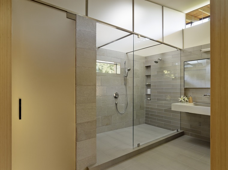 ​​​​​​​A translucent polycarbonate Plexiglass plenum that fronts on architecture, bathroom, glass, interior design, shower, plumbing fixture, FuTung Cheng, Cheng Design