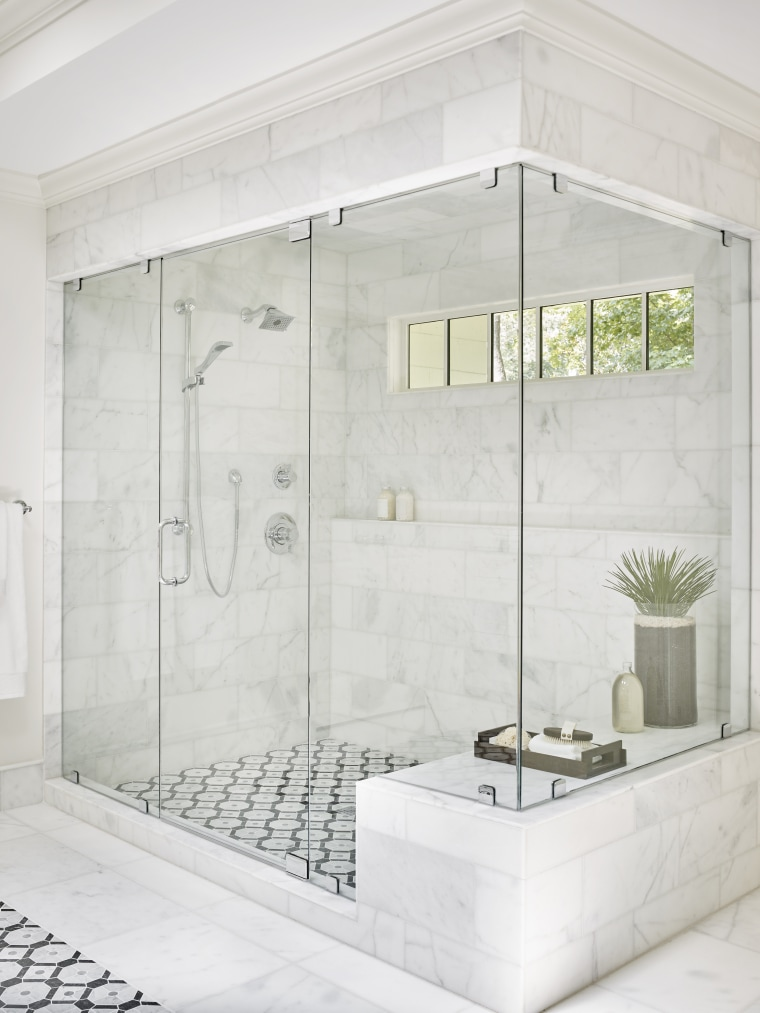 A combination of fixed showerhead and an adjustable bathroom, floor, glass, plumbing fixture, shower, tap, tile, white, enclosed shower, Mark Williams Design