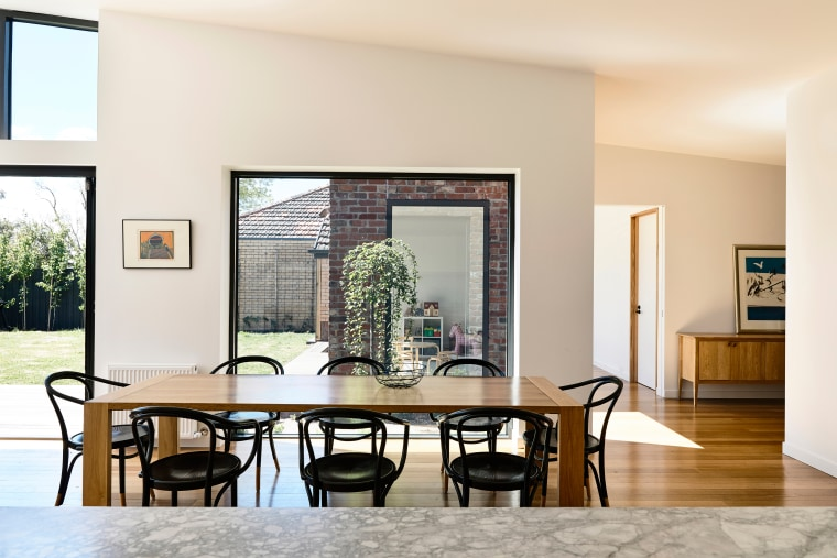 How do you keep a subtle eye on chair, dining room, furniture, interior design, living room, table, window, white, Porter Architecture