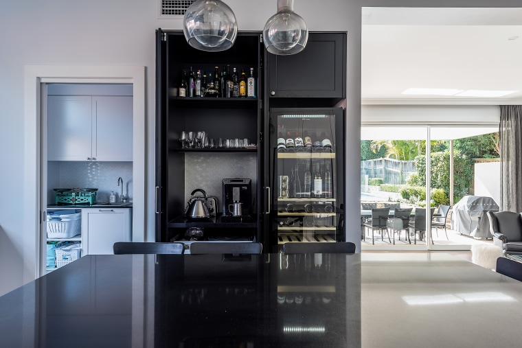 Nz3406Ildesign–287282808 06 building, cabinetry, ceiling, countertop, furniture, home, house, interior design, kitchen, material property, property, real estate, room, shelf, gray, black