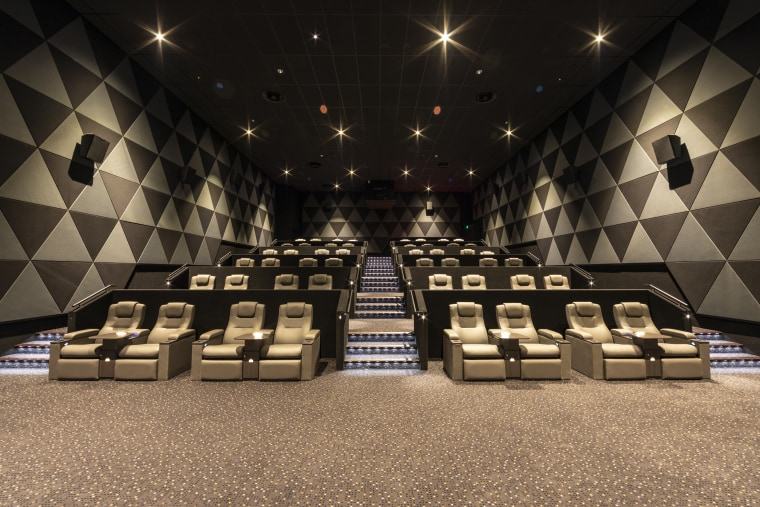 Phones off, lights down, popcorn open and the auditorium, flooring, function hall, interior design, black, brown