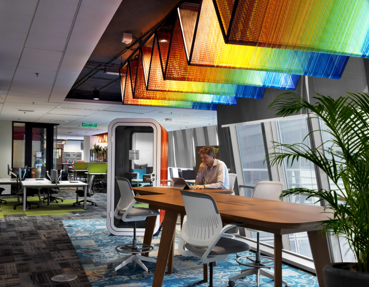 A feature of the Microsoft KL fit-out, vibrant interior design, lobby, real estate, gray, black