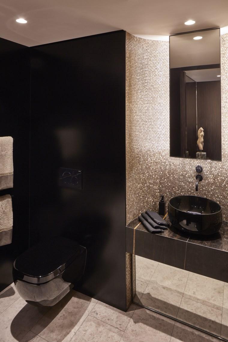 Earp Bros gold mosaic and black Corian wall architecture, bathroom, gold, black, countertop, interior design, marble, plumbing fixture, sink, tap, tile, black, corian, wall panels, Archer Design, vanities, mosaics, gold mosaics, vanity