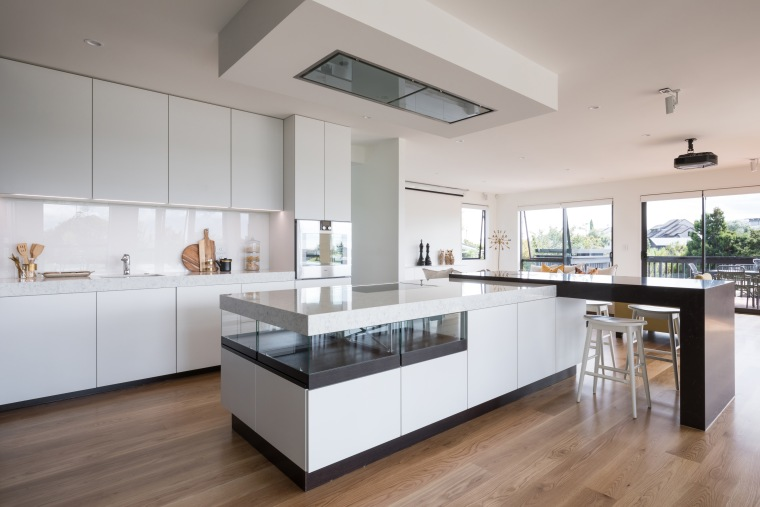 Clean-lined, crisp, and catering to all members of architecture, cabinetry, countertop, benchtop, design, floor, flooring, timber, hardwood, kitchen, wood, wood flooring, Akzente, Poggenpohl, Lara Farmilo