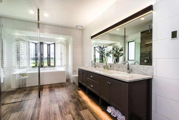 ​​​​​​​Wood-look ceramic floor tiles extend up the shower architecture, bathroom, bathroom cabinet, cabinetry, floor, flooring, tiles, basin, Peta Davy, Yellowfox