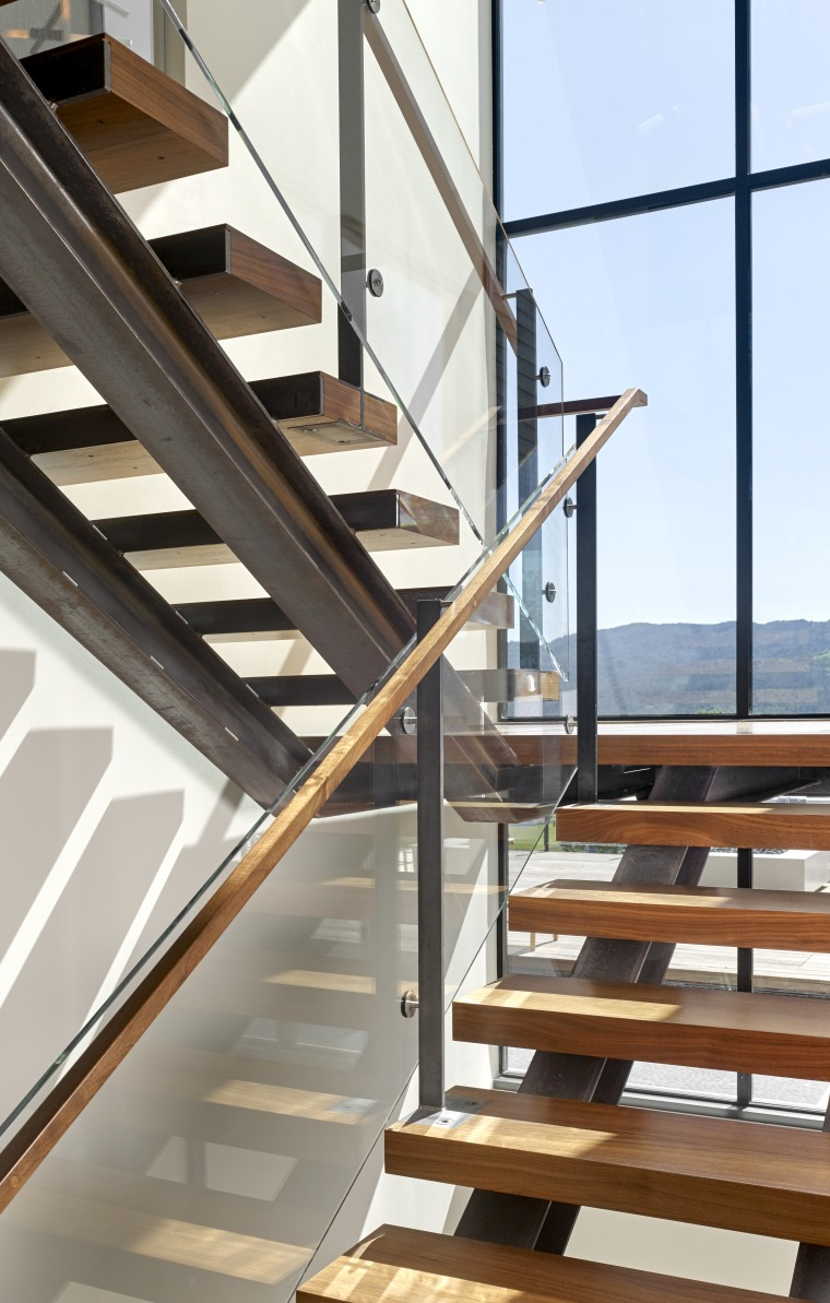 Nz3501Zackdevito–306103745 18 - architecture | baluster | building architecture, baluster, building, daylighting, glass, handrail, hardwood, home, house, interior design, iron, line, loft, material property, metal, property, real estate, room, stairs, steel, window, wood, gray
