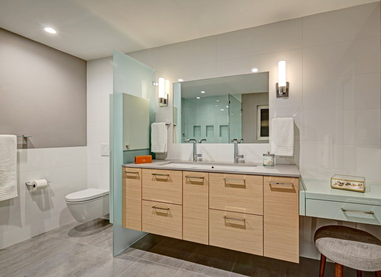 An original Mid-Century Modern bathroom might have had architecture, bathroom, bathroom cabinet, vanity, floor, plumbing fixture, tile, gray, Nar Design Group