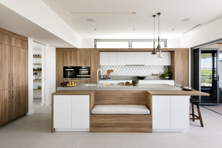 ​​​​​​​For this kitchen by interior architect and kitchen architecture, cabinetry, countertop, benchtop, cuisine classique, cupboard, floor, furniture, hardwood, kitchen, lighting, material property, plywood, table, wood, white, Nadia Clark