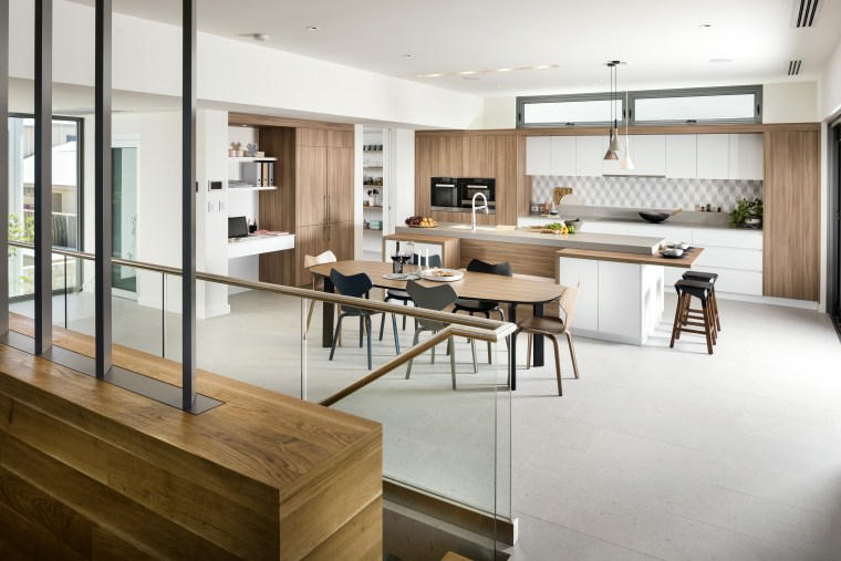 This quintessential modern kitchen by interior architect and architecture, cabinetry, countertop, benchtop, design, dining room, flooring, furniture, hardwood, home, house, interior design, kitchen, living room, wood, wood flooring, white, gray, Riverstone Custom Homes