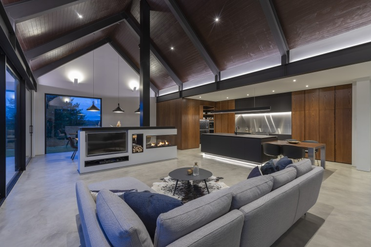 Having a lowered ceiling helps give this kitchen apartment, architecture, building, fireplace, gas fire, heating, ceiling, design, estate, furniture, home, house, interior design, lighting, living room, loft, property, real estate, room, gray, black