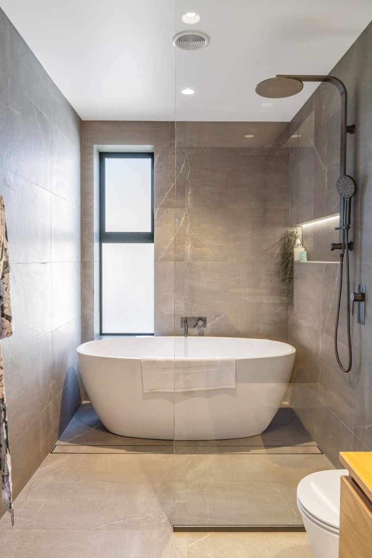 Centre of attention – in this family bathroom, architecture, bathroom, bathtub, floor, flooring, home, house, interior design, marble, plumbing fixture, tap, tile, wall, wet zone, QPC Build Group,  Yellowfox