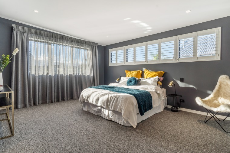 The designers wanted to add colour to this bedroom, carpet, furniture, home, house, interior design, bedroom, suite, window treatment, yellowfox, resene paints