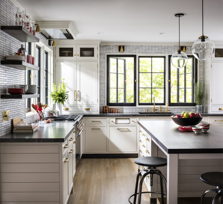 ​​​​​​​For this project, designer Sarah Robertson – also Kitchen, cabinetry, countertop, floor, flooring, furniture, home, house, interior design, kitchen, table, tile, wood flooring, Studio Dearborn