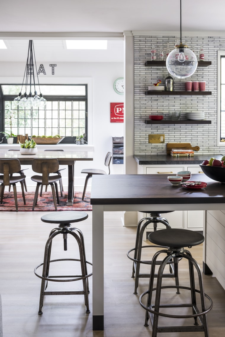 This completely reinvented kitchen is a few short bar stool, cabinetry, countertop, dining room, floor, flooring, furniture, home, house, interior design, kitchen, Studio Dearborn