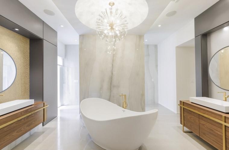 As part of this makeover by architect Sandra architecture, bathroom, bathtub, floor, flooring, interior design, plumbing fixture, tile, wall, slipper bath, chandalier, Sandra Diaz-Velasco, walk-in shower