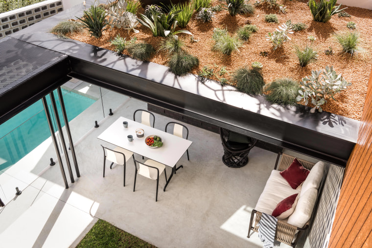 On this home, the upstairs lounge overlooks a architecture, backyard, deck, outdoor furniture, home, house, landscape, landscaping, patio, plant, Dalecki Design