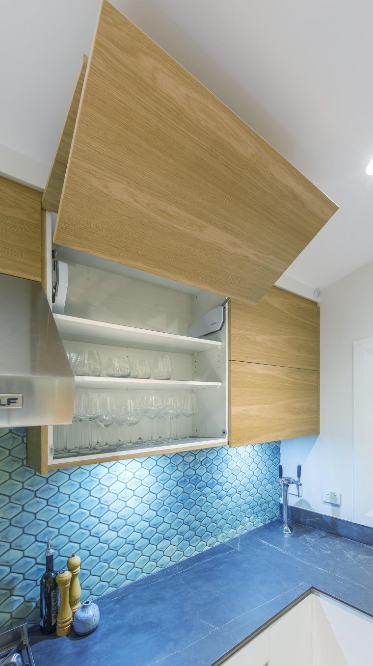 Up and away – high-tech cabinetry hardware features interior design, shelf, shelving, Kira Gray, Kitchen Designer, splashback, timber