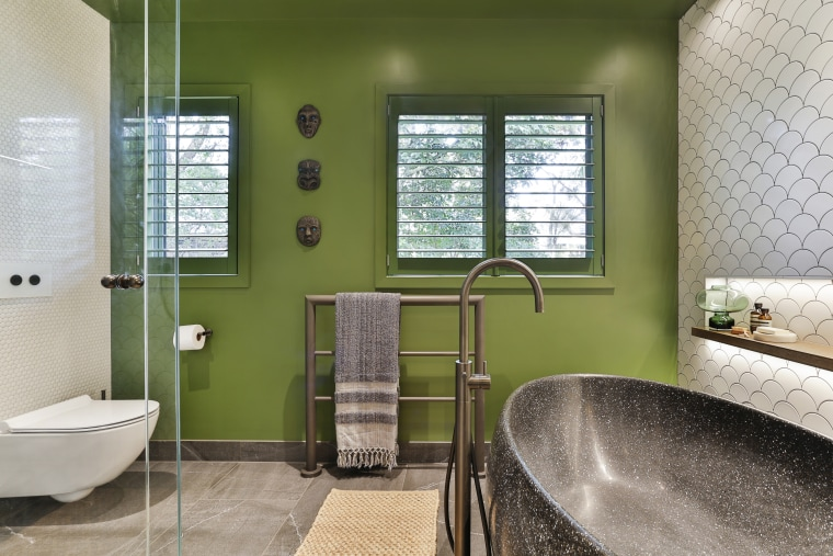 ​​​​​​​For this guest bathroom, designer Natalie Du Bois architecture, bathroom, bathtub, building, ceiling, door, estate, floor, flooring, furniture, glass, green, home, house, interior design, plumbing fixture, property, real estate, residential area, room, tap, tile, window, brown, gray