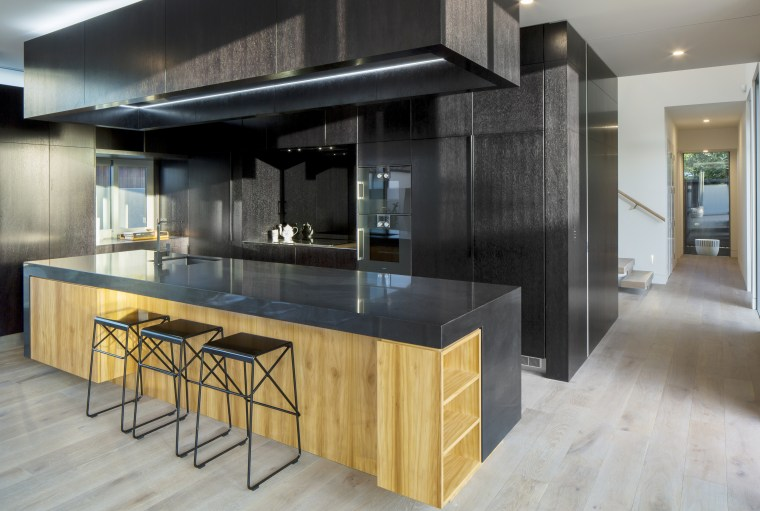 In balance – this kitchen has its own architecture, building, cabinetry, ceiling, countertop, cupboard, design, floor, flooring, furniture, glass, hardwood, home, house, interior design, kitchen, laminate flooring, loft, material property, property, real estate, room, table, wood, wood flooring, wood stain, gray, black