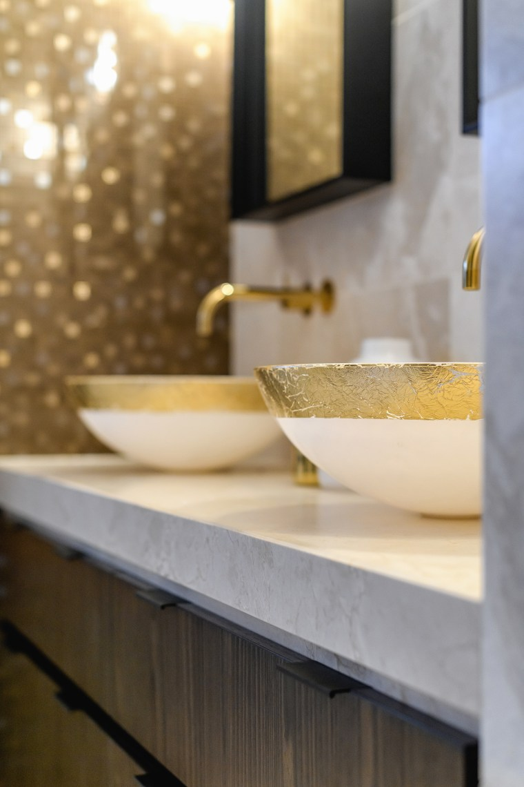 ​​​​​​​All that glitters –  blown glass bowls hand-painted architecture, bathroom, countertop, floor, flooring, interior design, marble, plumbing fixture, room, sink, table, tile, wall, yellow, gray, brown