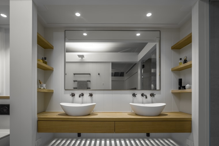 This bathroom design reflects the new home's classic-Hamptons-with-a-twist architecture, bathroom, bathroom accessory, bathroom cabinet, bathtub, home, house, interior design, plumbing fixture, double sinks, french oak vHither Consultinganity,