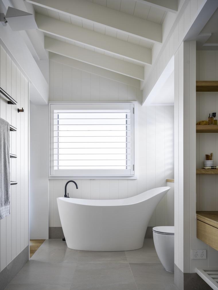 The aptly named slipper bath provides a focal architecture, bathroom, bathtub, slipper bath, ensuite, white weatherboard finish, hamptons style