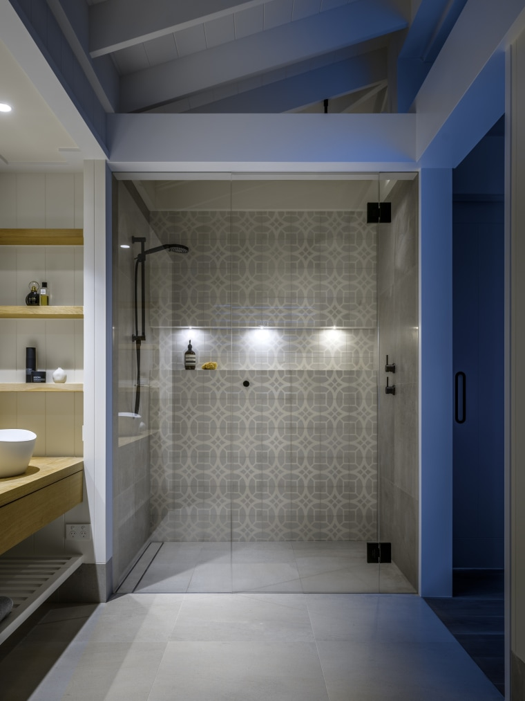 With its bold pattern tiling, black fittings and architecture, bathroom, pattern tiling, black fittings, glass door, contemporary, Hither Design