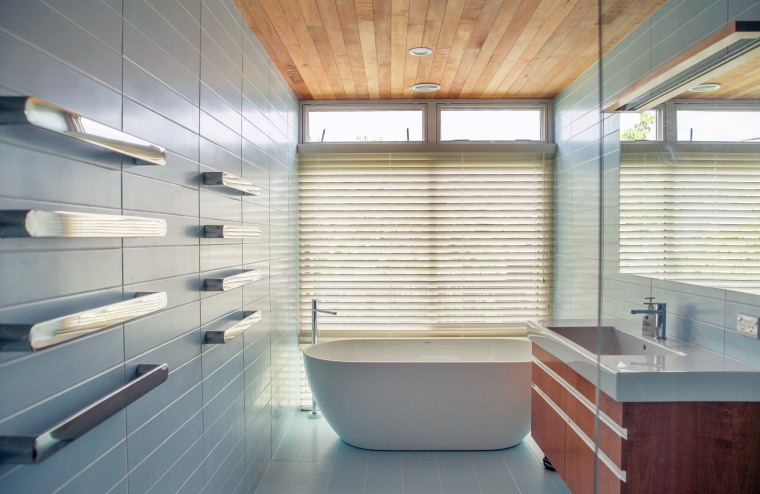 Clean-lined, aesthetically enduring and highly functional, this general architecture, bathroom, bathtub, floor, flooring, home, house, interior design, plumbing fixture, tile, toilet, blue, Frans Kamermans, Kamermans Architects