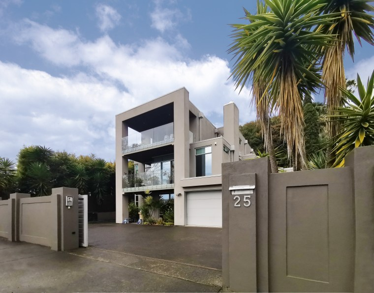 Cool and contemporary, this multi-level Remuera home was architecture, building, concrete, gate, home, house, residential builder, EZ Building solutions
