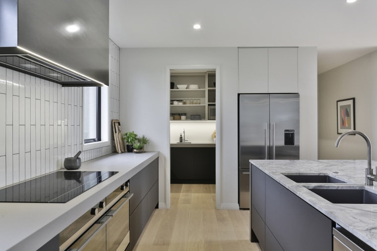 ​​​​​​​Party out the front – for this kitchen, apartment, architecture, building, cabinetry, ceiling, countertop, cupboard, daylighting, floor, flooring, furniture, hardwood, home, house, interior design, kitchen, material property, property, real estate, room, sink, tile, wood flooring, gray