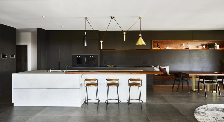 ​​​​​​​Looking a little like a perfectly balanced abstract architecture, bar stool, cabinetry, countertop, benchtop, floor, flooring, home, house, interior design, kitchen, Darren James, wood veneer, bar stools