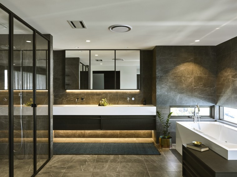 ​​​​​​​Marble look Spanish tiles, dark joinery, and black architecture, bathroom, building, ceiling, design, floor, flooring, furniture, home, house, interior design, lighting, material property, property, real estate, room, tile, wall, gray, black