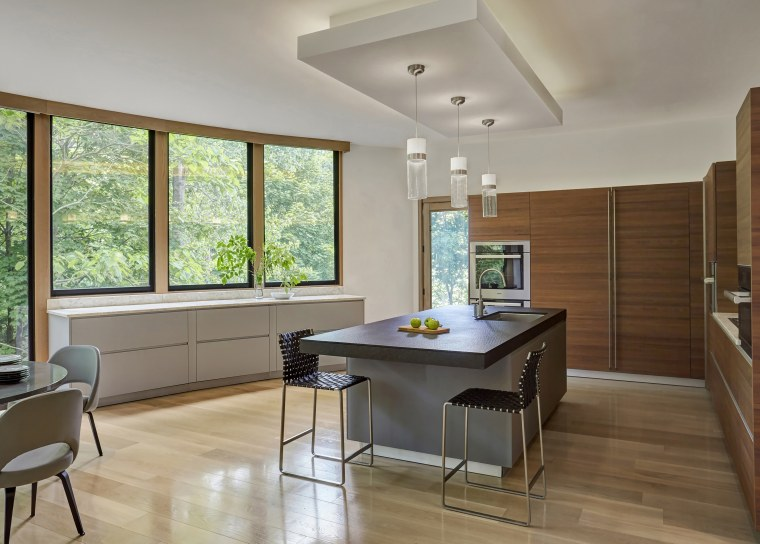 ​​​​​​​While this kitchen renovation by architect Lenore Weiss architecture, building, cabinetry, ceiling, countertop, daylighting, dining room, floor, flooring, furniture, hardwood, home, house, interior design, kitchen, laminate flooring, living room, property, real estate, room, table, window, wood, wood flooring, gray, brown