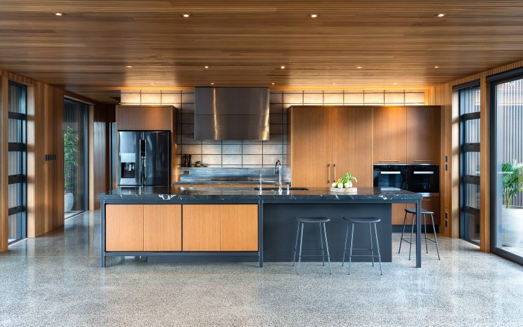 If the wood ceiling, concrete floor and rear architecture, building, cabinetry, ceiling, countertop, design, door, floor, flooring, furniture, glass, hardwood, home, house, interior design, kitchen, lighting, property, real estate, room, table, wood, wood stain, brown