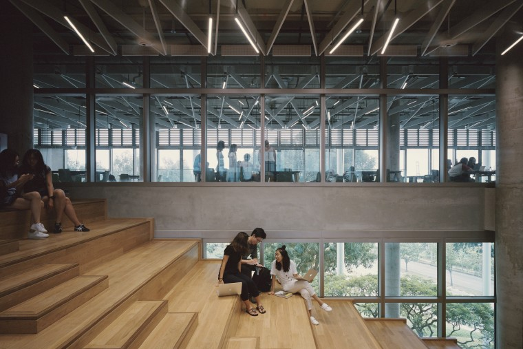 In a building design where learning, linking and architecture, building, floor, flooring, interior design, lobby, tourist attraction, wood, black, gray, university