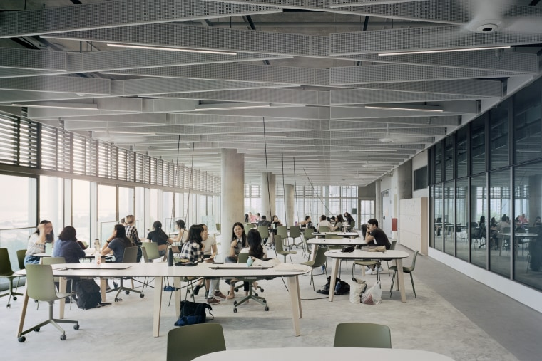 The modern SDE4 building draws on classic architectural architecture, building, design, furniture, interior design, office, SDE4 building, architectural precdents, natural light